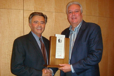 Accepting Lifetime Achievement Award for Warren Wiersbe at 2009 CBA in Denver