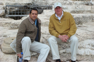 Michael with tour guide Yuval on the temple mount steps in Jerusalem